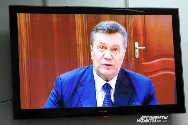 Виктор Янукович говорил с украинским судом по видеосвязи.