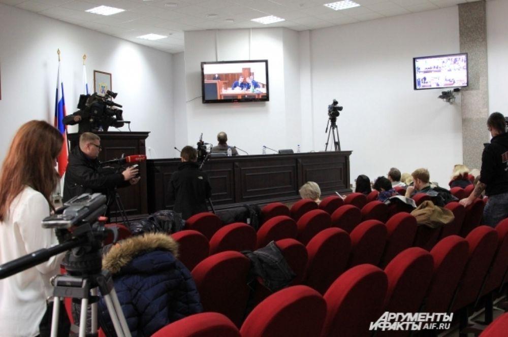 Конференц-зал, где журналисты наблюдали за диалогом между Россией и Украиной.