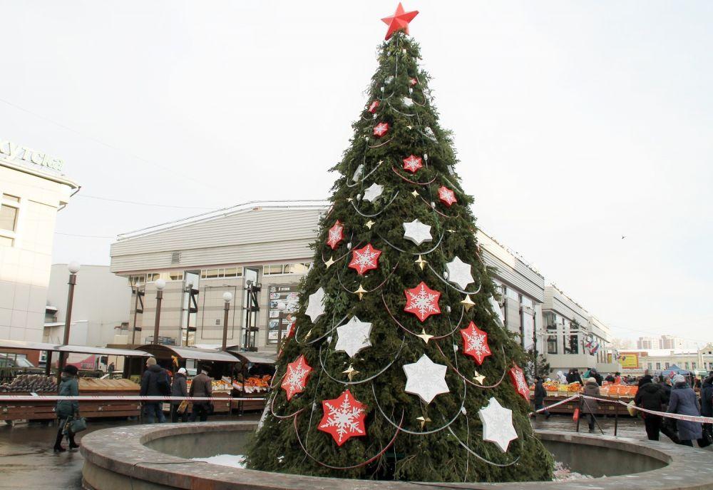 Красивые елки уже появились у торговых центров.