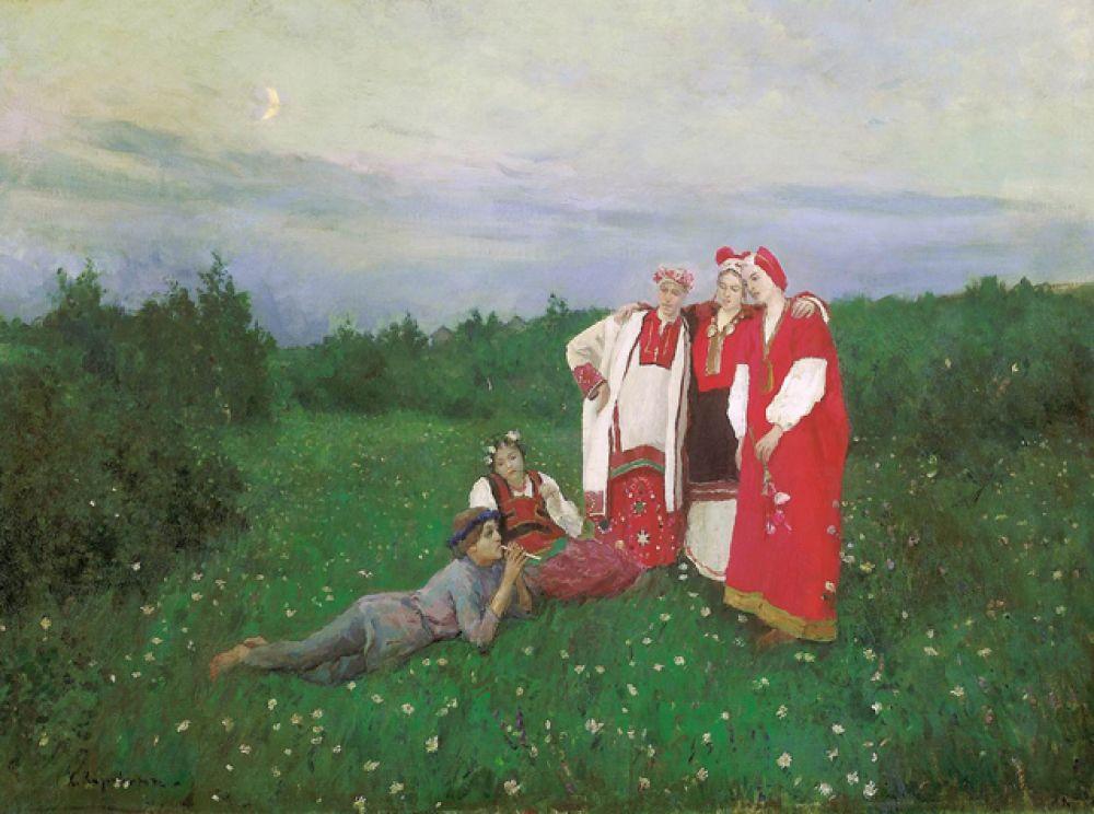 «Северная идиллия» (1892). Замысел картины зародился у Коровина в процессе оформления спектаклей на фольклорную тему. Сюжет навеян оперой «Снегурочка» по мотивам пьесы Островского.