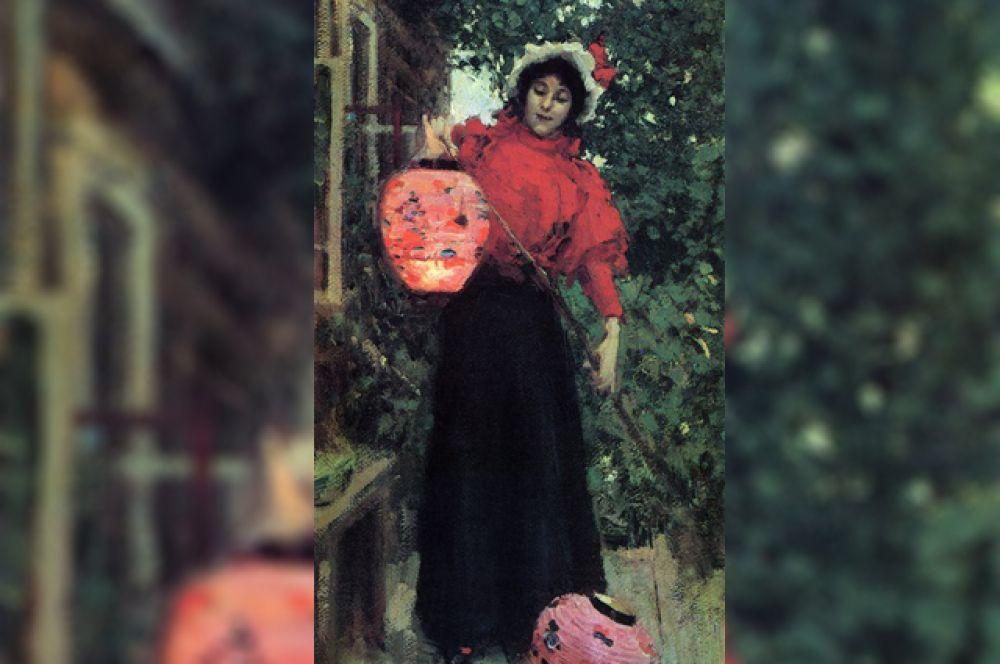 «Бумажные фонари» (1896). На картине изображена молодая женщина, которая зажигает разноцветные бумажные фонарики. Считается, что художник изобразил свою будущую жену Анну Яковлевну Фидлер.