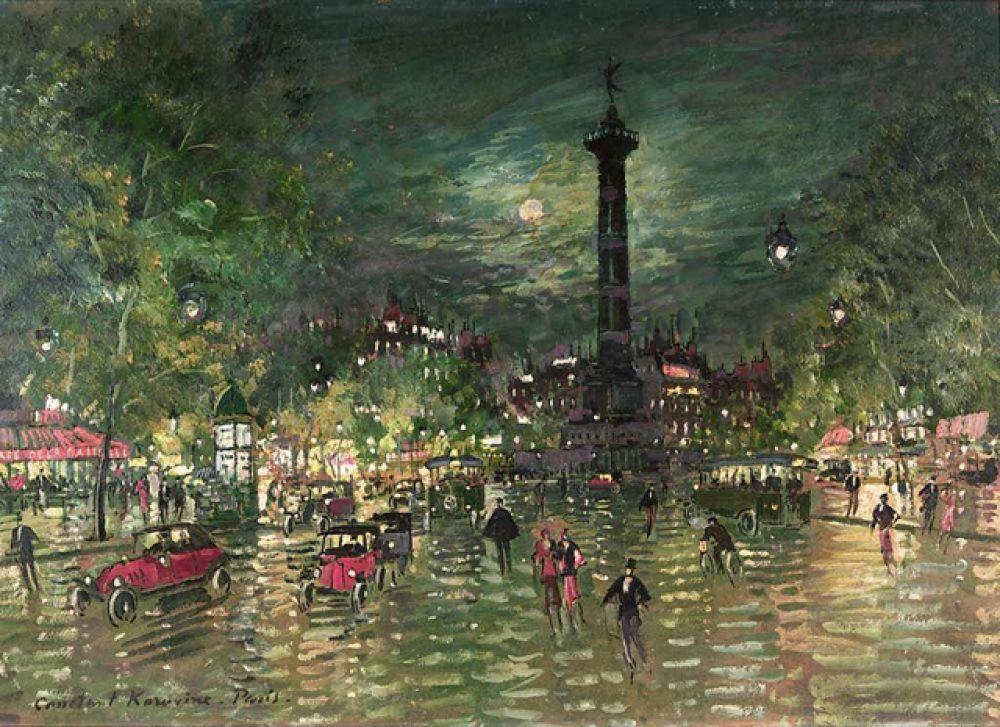 Значительное место в творчестве Коровина занимал Париж. Городские пейзажи созданы под сильным влиянием французских импрессионистов. Ему мастерски удалось передать жизнь французской столицы в часы утреннего пробуждения, но более всего вечером, в сиянии огней на улицах и бульварах. «Бастилия» (1928).