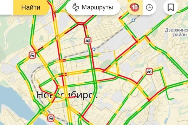 Новосибирск встал в9-балльных пробках