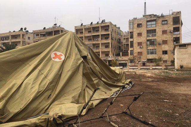Мобильный госпиталь Министерства обороны РФ в Алеппо после обстрела.