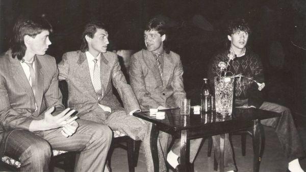 Игроки Валерий Клеймёнов, Олег Стогов, Владимир Осколков и Александр Никитин. 1980-е.