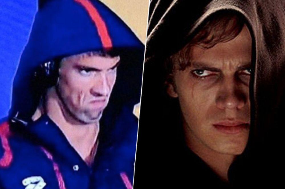 Злой Фелпс. Олимпийский чемпион Майкл Фелпс стал одним из главных мемов Олимпиады в Рио-де-Жанейро. Перед полуфинальным заплывом камеры поймали его недовольное лицо. Соцсети тут же отреагировали сравнением американца с Энакином Скайуокером и другими шутками.