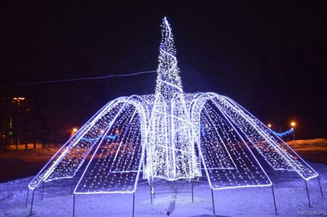 Световой фонтан в Барнауле