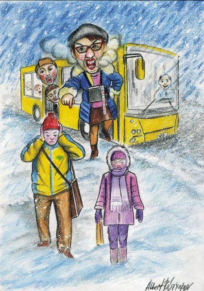Кондуктор автобуса в ноябре пыталась выгнать на 26 градусный мороз школьника, у которого не хватило денег на проезд, так как из-за простоя электротранспорта ему пришлось делать пересадку.