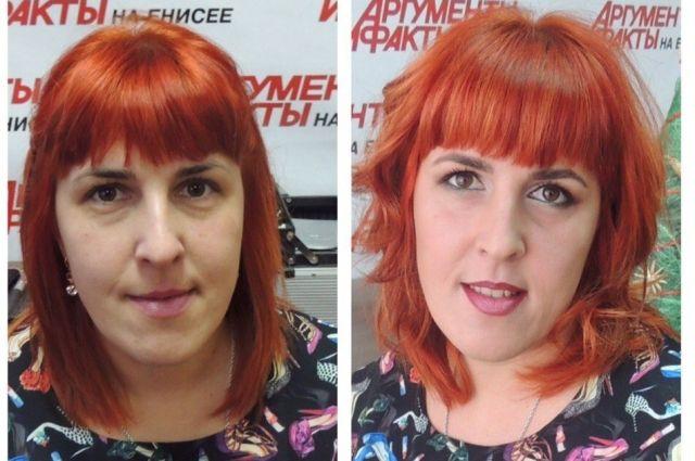 До и после праздничного макияжа.