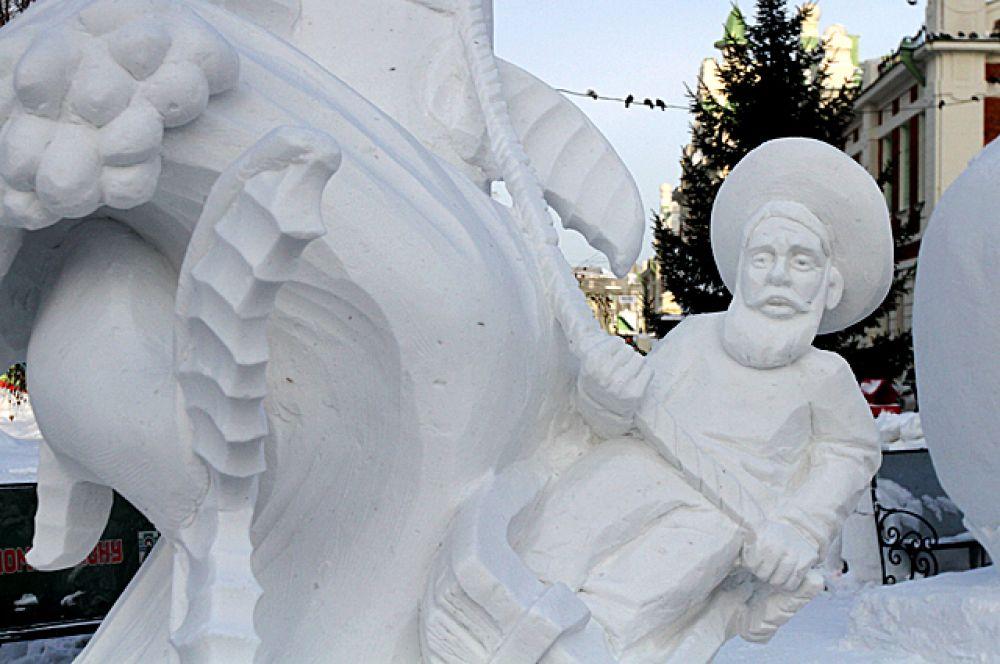 Первое место получила команда скульпторов из Горно-Алтайска с композицией «Старик и море»