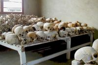 Кости убитых во время геноцида в Руанде, представленные в Мурамбийском центре памяти геноцида.