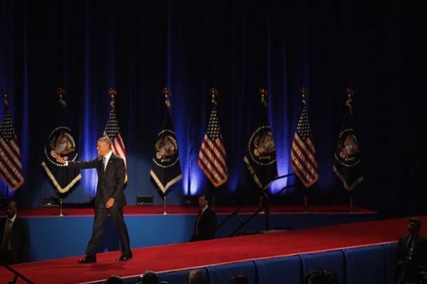 Последняя речь президента США Барака Обамы началась с традиционных приветствий с публикой