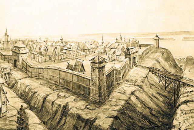 Репродукция рисунка А. Грошева. Симбирск 17 века.