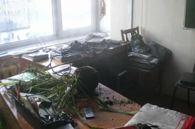 Пожар произошел в одном из кабинетов школы