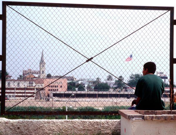 Граница между Мексикой и США в городах Ларедо, штат Техас и Нуэво-Ларедо, штат Тамаулипас.