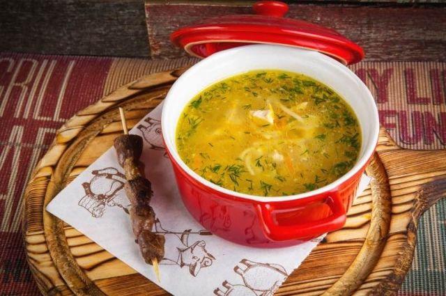 Суп из куриных желудков с лапшой