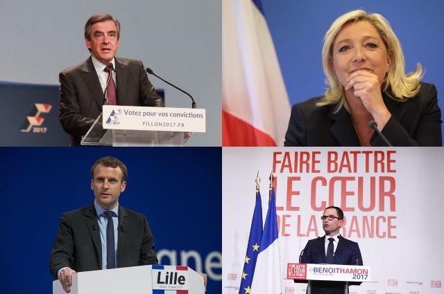 Франсуа Фийон, Марин Ле Пен, Эммануэль Макрон и Бенуа Амон.