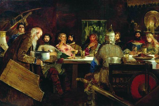 А. П. Рябушкин. Пир богатырей у ласкового князя Владимира. 1888 г.