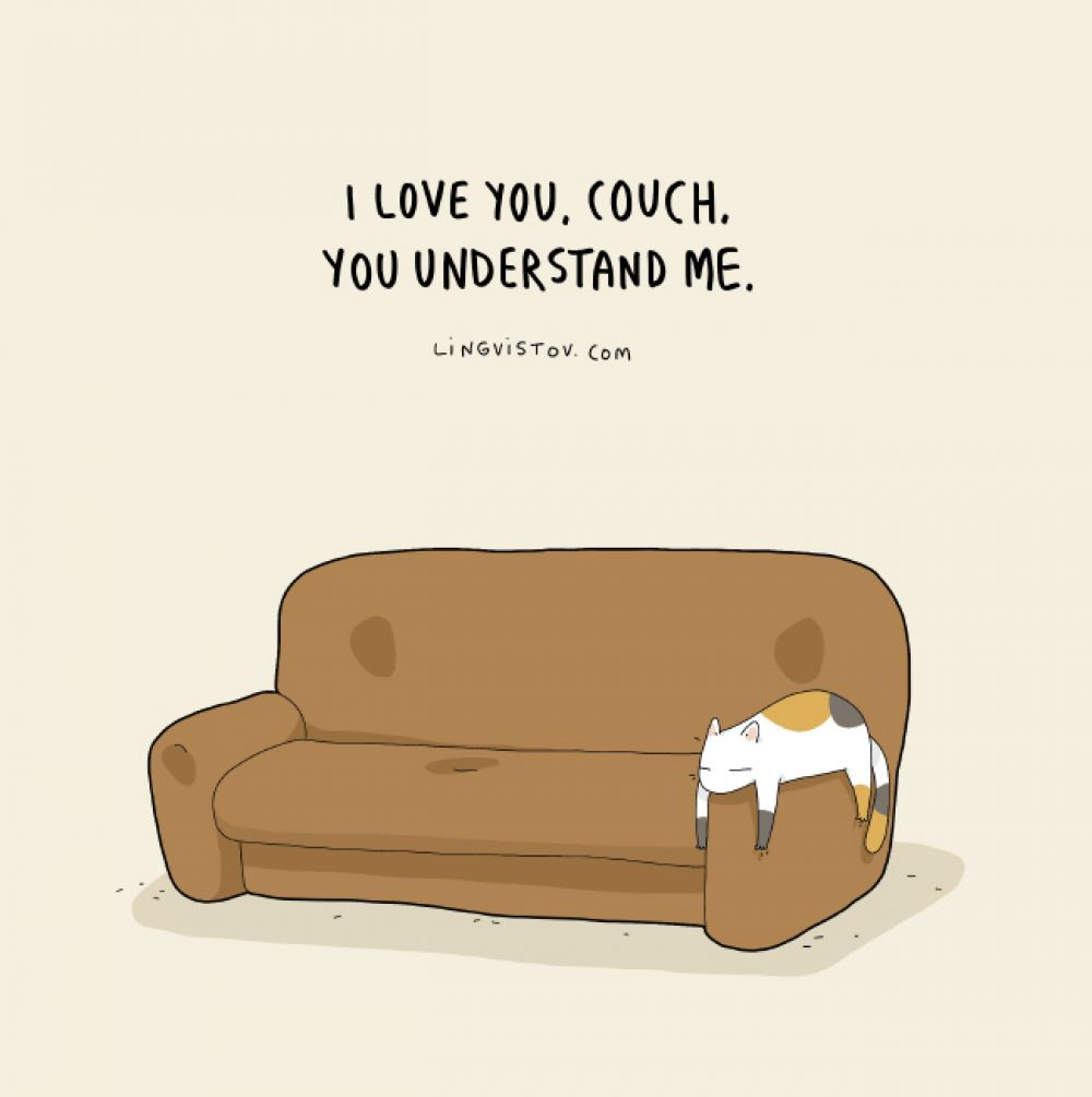 «Я люблю тебя, диван. Ты понимаешь меня»