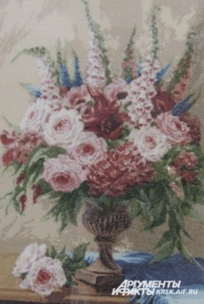 Вышитые цветы.