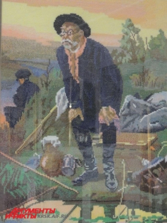На вышивку картины «Рыбак» красноярку натолкнули воспоминая об отце, который был заядлым рыбаком.