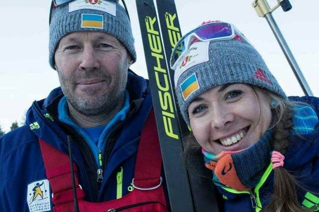 Юлия Джима и старший тренер женской биатлонной команды Украины Урош Велепец