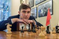 Международный гроссмейстер, чемпион мира по быстрым шахматам Сергей Карякин на церемонии открытия после реставрации Центрального дома шахматиста в особняке на Гоголевском бульваре.