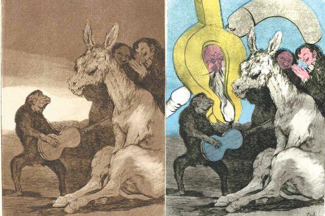 Слева - Гойя, офорт «Брависсимо!». Объяснение: «Если для понимания важны длинные уши, осёл - лучший ценитель». Справа - Дали, гравюра «Нет».