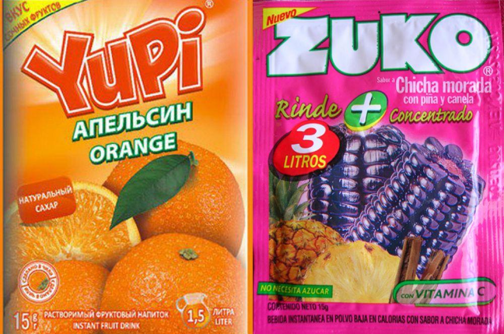 Растворимые напитки Yupi и Zuko