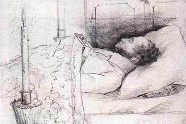 Тело Пушкина во время прощания.