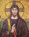 В периоды расцвета Византийской империи главным элементом художественной отделки соборов, усыпальниц и базилик была мозаика, однако позднее из-за дороговизны её вытеснили фрески. Христос Пантократор. Мозаика из базилики Сант-Аполлинаре-Нуово, Равенна.