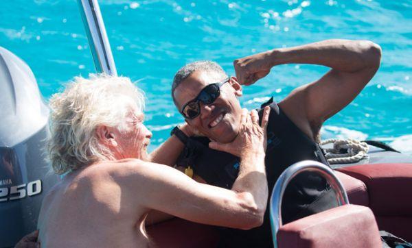 Барак Обама и владелец холдинга Virgin Group Ричард Брэнсон.