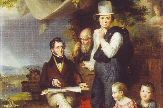 Посмертный портрет Джорджа Доу (сидит), написанный его учеником Голике (стоит)