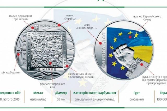 Памятная монета «Евромайдан» изготовлена из нейзильбера и посвященная акциям протеста