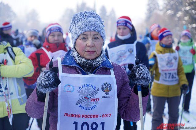Пермяков вышли на«Лыжню России» в30-градусный мороз