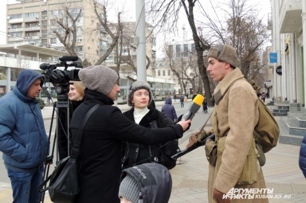 Реконструкцию освобождения Краснодара запечатлели телекамеры.
