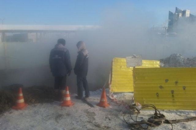 Место коммунальной аварии в Иркутске.