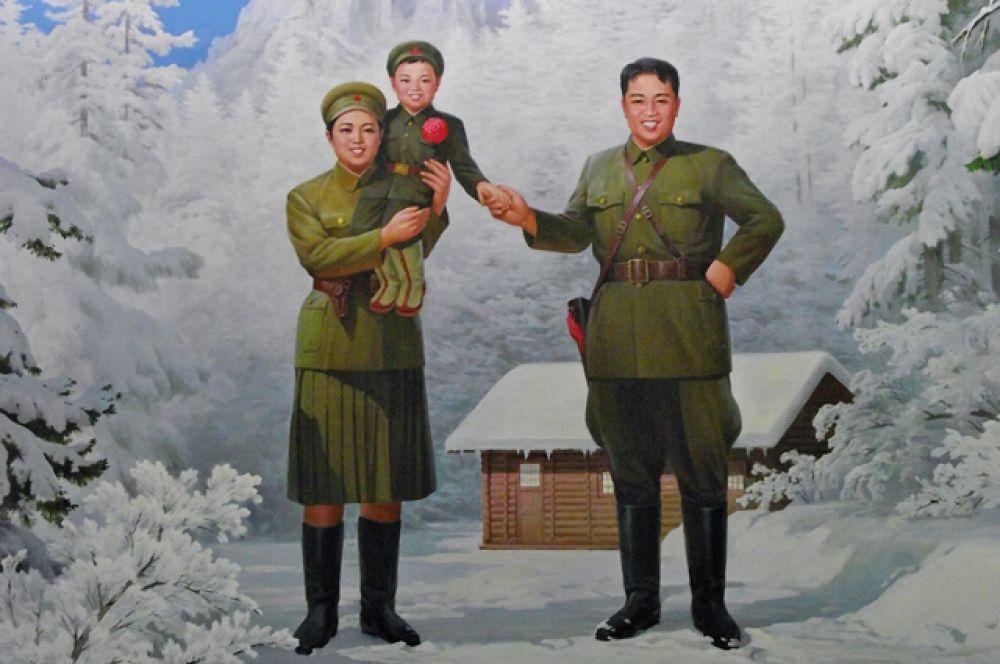 Пропагандистский портрет Ким Чен Ира с родителями.