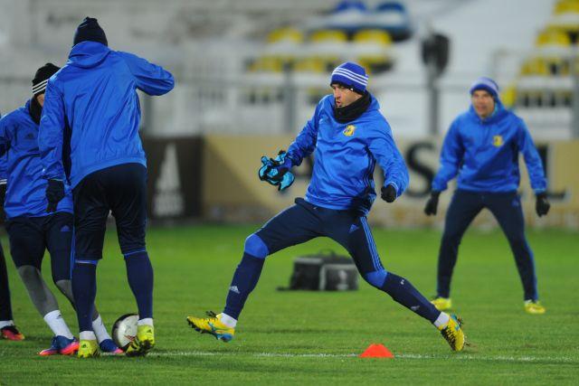 Игроки ФК «Ростов» во время тренировки перед матчем 1/16 финала Лиги Европы против ФК «Спарта».