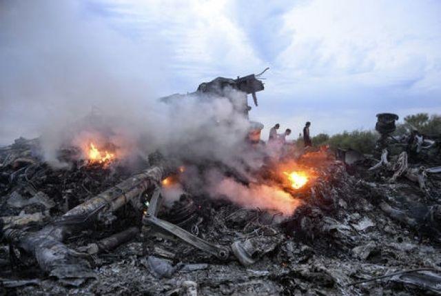 Место падения самолета рейса MH17 на Донбассе