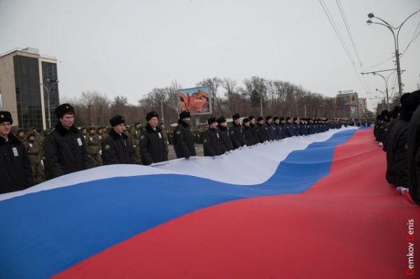 Торжественная передача огня III зимних Всемирных военных игр состоялась на Театральной площади донской столицы.