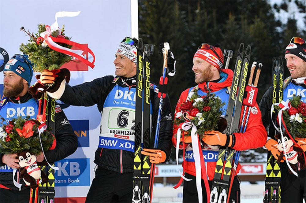 Спортсмены сборной Австрии, завоевавшие бронзовые медали в эстафете среди мужчин.