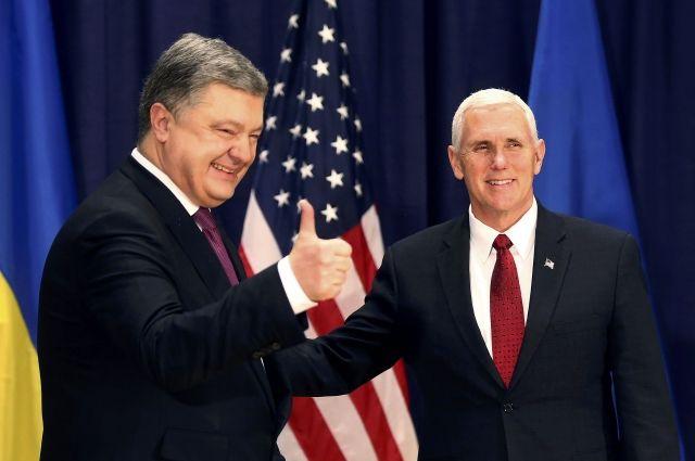 Пенс иПорошенко обсудили поддержку США впереговорах поурегулированию вДонбассе