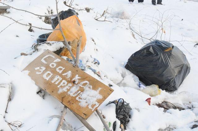 На видео автор ролика запечатлел кучи мусора, покрытые снегом.