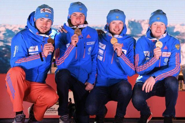 Жители России стали чемпионами мира побиатлону вэстафете впервый раз за10 лет