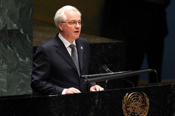 Виталий Чуркин выступает на 65-й сессии ООН, 2010 год.