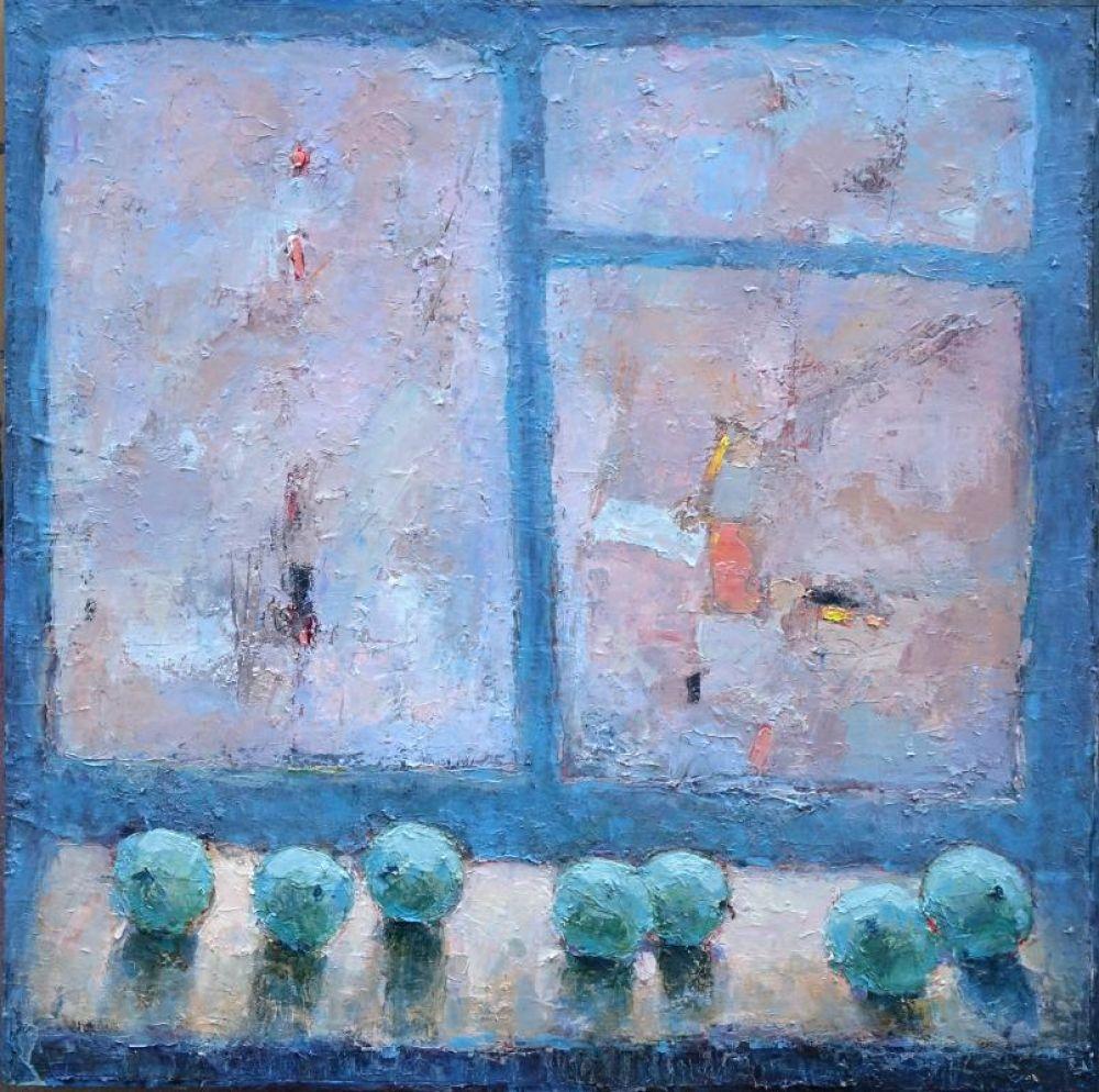Картина «Февраль», в этом году вышедшая из-под кисти ростовского художника. Обледенелое окно не позволяет чётко разглядеть пейзаж за окном, потому глаз закономерно падает на самые обычные яблоки, разложенные на подоконнике.