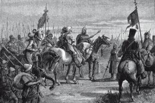 Князь Михаил Скопин-Шуйский встречает шведского воеводу Делагарди близ Новгорода.
