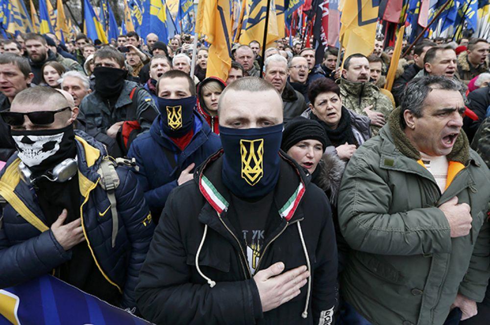 22 февраля. В Киеве продолжаются массовые мероприятия, приуроченные к годовщине Майдана.