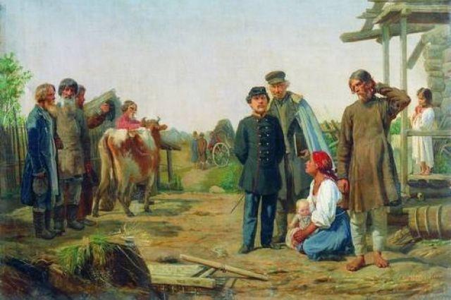 А. И. Корзухин. Сбор недоимок (Уводят последнюю корову).